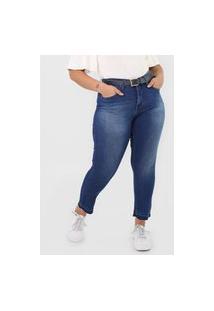 Calça Jeans Calvin Klein Jeans Slim Cropped Estonada Azul
