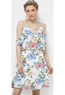 Vestido Pérola Curto Open Shoulder Babado Floral - Feminino-Branco