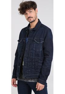 Jaqueta Jeans Masculina Trucker Com Bolsos Azul Escuro
