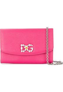 Dolce & Gabbana Carteira De Couro Com Corrente E Logo - Rosa