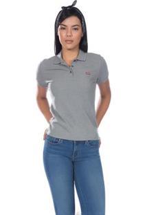 Camisa Polo Levis Classic Batwing - Feminina - Feminino-Cinza