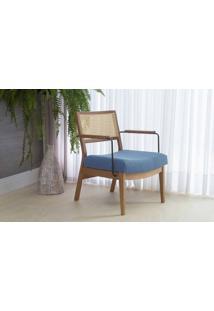 Poltrona Confortável Com Braços De Metal Lavanda - Aço Preto Verniz Amendoa Tec.930 Azul Claro 63,5X64X78 Cm