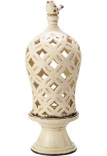 Porta Vela Cupula Creme De Cerâmica 14,7X14,7X40,2 Cm - Unissex