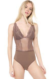 Body Calvin Klein Underwear Renda Marrom - Marrom - Feminino - Poliamida - Dafiti
