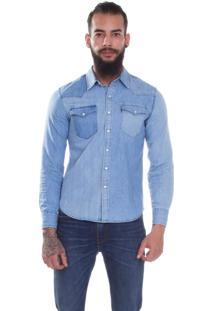 Camisa Levis Masculina Jeans Classic Western Azul Média
