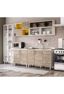 Cozinha Completa Floripa 10 Pt 3 Gv Branca E Carvalho Claro