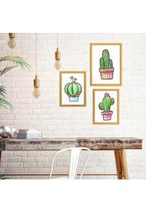 Kit 3 Quadros Com Moldura Dourada Cactus