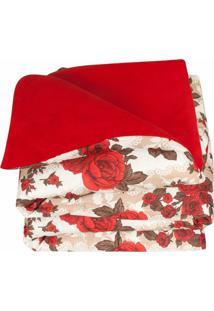 Cobertor Antares Vermelho Casal Dourados Enxovais Dupla Face 120 Fios Manta Microfibra