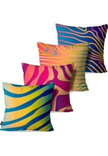 Kit Com 4 Capas Para Almofadas Pump Up Decorativas Cores E Linhas Em Arte Abstrata 45X45Cm