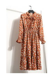 Vestido Madrid Vintage - Laranja Com Flores