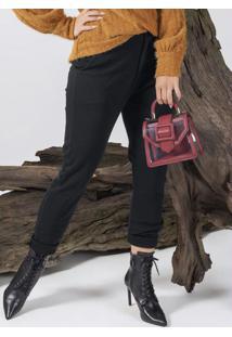 Calça Feminina Com Modelagem Reta Preto