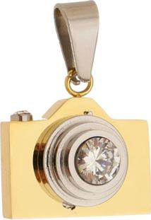 Pingente Câmera Tudo Jóias De Aço Inox Modelo Dourado