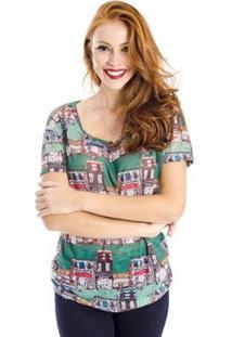 Camiseta Cidade Colorida Cantão - Feminino-Verde
