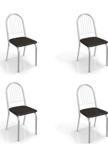 Conjunto Com 4 Cadeiras De Cozinha Noruega Cromado E Preto