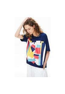 Camiseta Lacoste Boxy Fit Azul