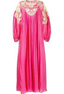 Alberta Ferretti Embroidered Panel Crinkled Effect Dress - Rosa