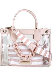 Bolsa Jorge Bischoff Shopper Transparente Transversal 2 Em 1 Feminina - Feminino-Rosa Claro
