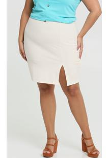 Saia Feminina Textura Fenda Plus Size