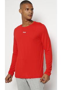 """Camiseta """"Fila®"""" Com Manga Longa - Vermelhafila"""