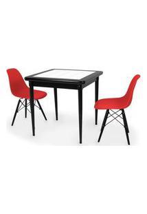 Conjunto Mesa De Jantar Em Madeira Preto Prime Com Azulejo + 2 Cadeiras Eames Eiffel - Vermelho