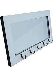 Porta Chaves Com Espelho Branco