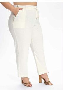 Calça Plus Size Off White Com Elástico No Cós