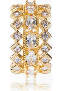 Anel Aliança Obietto Ouro Tripla Zirconia Cristal