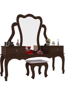Penteadeira Com Banco | Banqueta Elizabeth 2 Gv Imbuia
