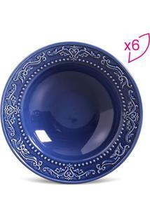 Jogo De Pratos Fundos Acanthus- Azul Escuro- 6Pçs
