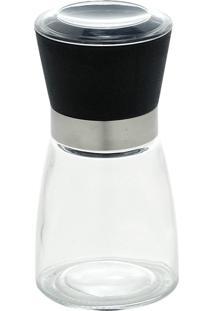Moedor De Vidro Para Sal/Pimenta Com Tampa Preto/Branco Isoldel