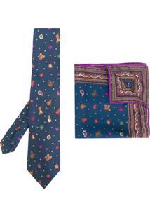 Etro Conjunto Com Gravata E Lenço De Bolso De Seda - Azul
