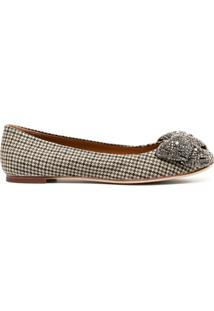 Tory Burch Crystal-Bow Houndstooth Ballerina Shoes - Marrom