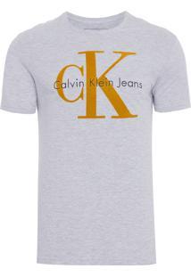 Camiseta Masculina Manga Curta Logo Ck Relevo - Cinza