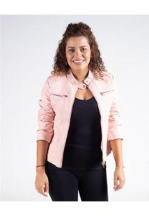 Jaqueta Básica Corino Besni Feminina - Feminino-Rosa Claro