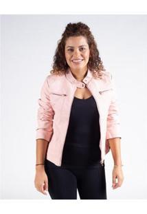 Jaqueta Besni Básica Corino Feminina - Feminino-Rosa Claro