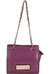 Bolsa Couro Jorge Bischoff Mini Bag Croco Alça Corrente Feminina - Feminino-Vinho