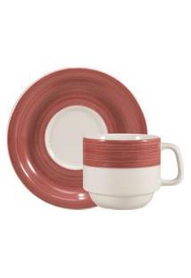 Xícara Chá Com Pires 200 Ml Porcelana Schmidt - Dec. Cilíndrica Pintura À Máo Vermelho