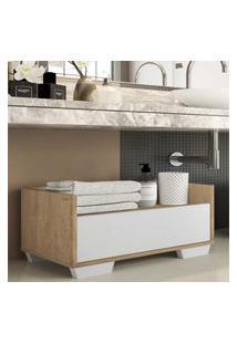 Gabinete Armário Banheiro 80 Cm C/ Pés Quadrados Multimóveis Rustic/Branco