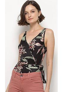 Body Mercatto Transpassado Floral - Feminino-Preto