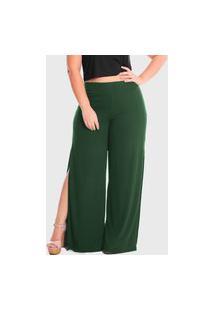 Calça Pantalona Laterais Abertas Cintura Alta Plus Size Lynnce Verde Escuro