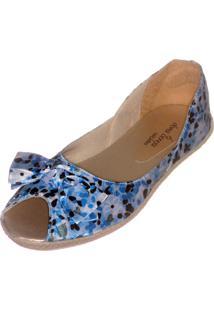Sapatilha Peep Toe Dona Cereja Azul Floral