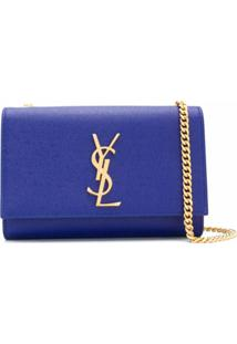 Saint Laurent Bolsa Transversal Com Placa De Logo - Azul