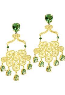 Brinco Banho De Ouro Com Base Em Cristal E Arabesco - Feminino-Verde