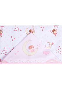 Toalha De Banho Papi Forrada Fadinha Branco E Rosa - Kanui