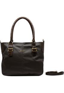 Bolsa Em Couro Recuo Fashion Bag Sacola Café/Croco