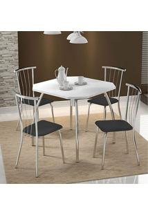 Mesa 1504 Branca Cromada Com 4 Cadeiras 154 Preta Carraro