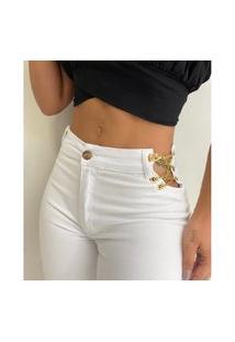 Calça Jeans Feminina Skinny Correntes Laterais Branca Azul
