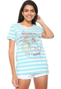 Camiseta Redley Caveira Azul/Off-White