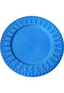 Sousplat Redondo Em Resina Azul