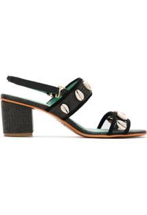 Blue Bird Shoes Sandália Búzios De Palha - Preto